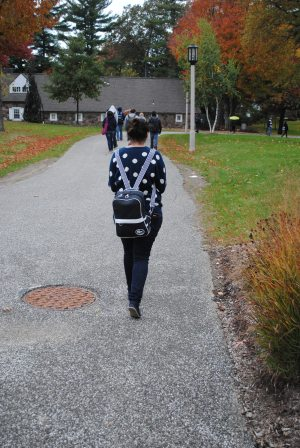 Yara Elsaied walks to class on a fall afternoon.