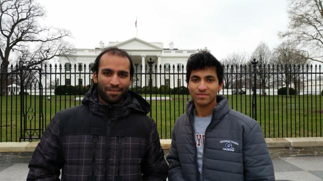 Craig Miranda, right, spent his winter break visiting his brother Clive, who lives in Washington, D.C.